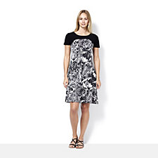 159841 - Short Sleeve Printed Dress with Solid Yoke by Nina Leonard