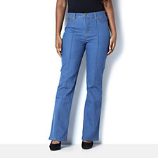 C. Wonder Bootcut Jeans with Front Pintuck Detail