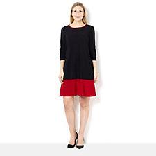 Coco Bianco 3/4 Sleeve Colour Block Jersey Swing Dress