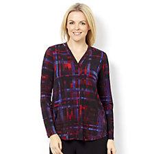 Kim & Co Brazil Knit Nouveau Plaid Long Sleeve Drop Shoulder Top