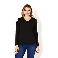 162541 - Liquid Knit Long Sleeve Cold Shoulder Top by Susan Graver
