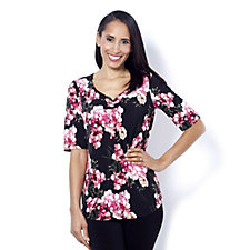 Kim & Co Brazil Knit Printed Elbow Sleeve Ruched Neck Top