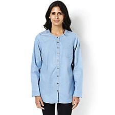 Denim & Co. Round Neck Button Front Shirt