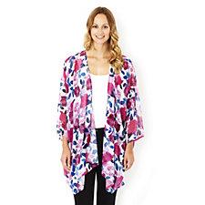 Join Clothes Printed Chiffon Edge To Edge Kimono Jacket