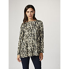 MarlaWynne Feathered Print Jersey Long Sleeve Butterfly Top
