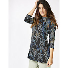 Attitudes by Renee 3/4 Sleeve Printed Tunic with Pockets