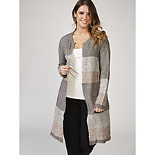 Absolutely Famous Colour Block Jacquared Open Long Duster