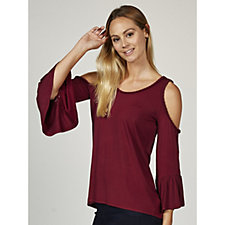 Andrew Yu Cold Shoulder Bell Sleeve Top with Plaid Detail