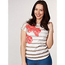 Marble Stripe & Floral Printed T-Shirt