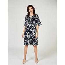 Ronni Nicole Bell Sleeve Printed Dress with Keyhole Detail