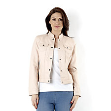Dennis Basso Stand Collar Faux Leather Jacket