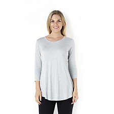 Logo Layers by Lori Goldstein Shirt Tail Tunic with 3/4 Sleeves in Melange