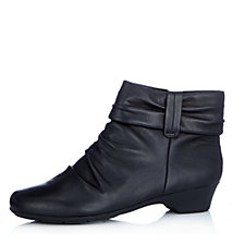 Clarks Matron Ella Ruched Soft Leather Ankle Boot Wide Fit