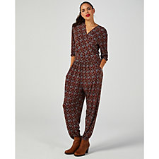 Kim & Co Mini Paisley Brazil Knit 3/4 Sleeve Jumpsuit