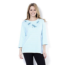 Quacker Factory Embellished Stripe Top