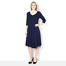 159642 - Join Clothes V Neck Front & Back Jersey Dress with Center Godet