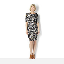 159842 - Printed Dress with Side Pleats by Nina Leonard