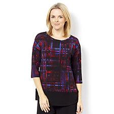 Kim & Co Brazil Knit Nouveau Plaid 3/4 Sleeve Top Contrast Band