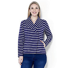 Isaac Mizrahi Live French Terry Striped Moto Jacket