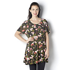 Floral Bouquet Printed Layered Hem Tunic by Michele Hope