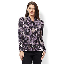 Mr Max Printed Crossover Front Top with Brazil Knit Insert
