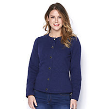 162942 - Isaac Mizrahi Live Quilted Jaquard Snap Front Jacket