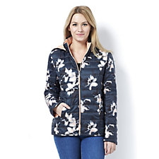 Centigrade Zip Front Floral Print Quilted Jacket