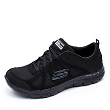 Skechers Flex Appeal 2.0 Simplistic Coated Leather Mesh Lace Up Trainer