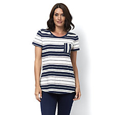 Isaac Mizrahi Live True Denim Short Sleeve Striped Top with Curved Hem