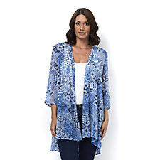 Printed Crinkle Sheer Chiffon Cardigan with Lace Inserts by Susan Graver