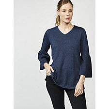 H by Halston Bell Sleeve V Neck Knit Tunic