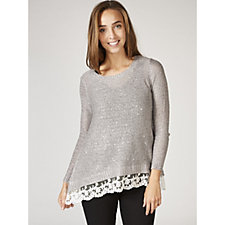 Absolutely Famous Sequined Jumper with Shark Bite Hem & Lace Trim