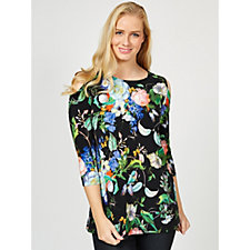 Attitudes by Renee Cold Shoulder Printed Top