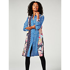 Printed Woven Button Front Duster by Susan Graver