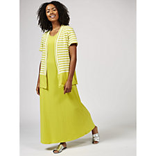 173842 - Antthony Designs Striped Cardigan and Maxi Dress with Scoop Neck