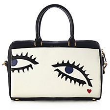 Lulu Guinness Large Archive Eye Smooth Leather Violet Bag