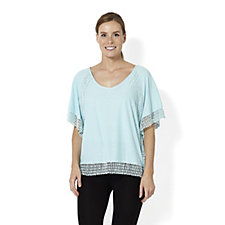 Fashion by Together Jersey and Lace Top
