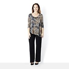 Attitudes by Renee 3/4 Sleeve Printed Jumpsuit