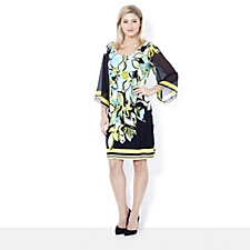 Ronni Nicole 'O So Slim' 3/4 Sleeve Floral Placement Print Dress