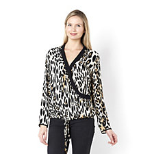 Biba Leopard Print Contrast Collar Blouse