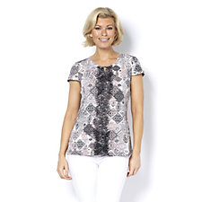 Keyhole Print Top with Lace Detail by Nina Leonard