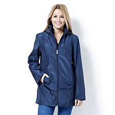Centigrade Dot Zip Front Hooded Swing Jacket