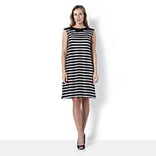 Denim & Co. Striped Extended Shoulder Boat Neck Dress