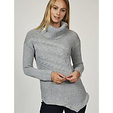 Absolutely Famous Asymmetric Cable Knit Cowl Neck Jumper