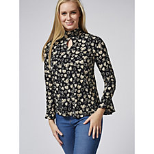 Printed Liquid Knit Mock Neck Top w/ Keyhole Detail by Susan Graver