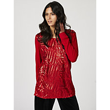 Antthony Designs Long Sleeve Sequin Front Tunic