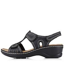 Clarks Lexi Walnut Polished Leather Adjustable Sling Back Sandal
