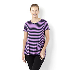 139844 - LOGO by Lori Goldstein Striped Tunic with Pocket