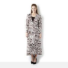 Antthony Designs 3 Piece Print Jacket Plain Skirt & Sleeveless Vest Set
