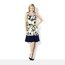 Coco Bianco Sleeveless All Over Print Floral Jersey Dress with Block Colour Hem